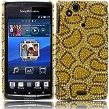 Diamante Diamond Case Cover For Sony Ericsson Xperia Arc S X12 / Leopard Spots Gold