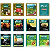 Dilmah, Gourmet, Green Tea, Fun Tea, Tea Sampler, 12 Different Varieties, 5 Tea Bags Each, Single Origin 100% Pure Ceylon, 4 Green Teas, 4 Pure Black Teas, 4 Fun Flavor Black, 60 Foil Enveloped Tea Bags, (Pack of 60)