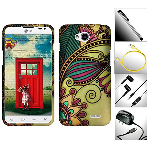 "Extra Valuable Pack / 5 In 1 For Lg Optimus L90 - 1 Unique Gorgeous Design Snap-On Hard Case + 1 Travel / Home Wall Charger + 1 Random Color Handsfree Headset 3.5Mm Stereo Earphone + Garnet House 4""L Silver Stylus Touch Screen Pen + 1 Free 3 Feet (1M) Tan"