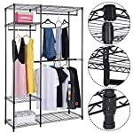 Safstar Portable Clothes Wardrobe Garment Rack Home Closet Hanger Storage Organizer