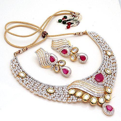 5a61613ee Jewar Mandi Necklace Set Silver Gold Plated Cool Design Original Ad Cz Red  Ruby Gemstones Handmade