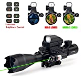 THEA 4-16x50EG Tactical Rifle Scope W/Green Laser and Holographic Dot Sight (Color: Green)