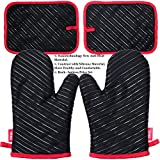 DEIK Oven Mitt and Potholders 4 Pieces, Heat Resistant Kitchen Mitts with Cotton Lining, Non-slip Silicone Potholder for Cooking, Baking, Grilling, Holding Pot, Black
