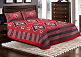 Jaipuri Haat Sanganeri Cotton Double Bed Sheet With 2 Pillow Covers- Red