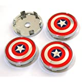 BENZEE 4pcs W254 60mm Car Emblem Badge Sticker Wheel Hub Caps Centre Cover Shield Captain America Steve Rogers