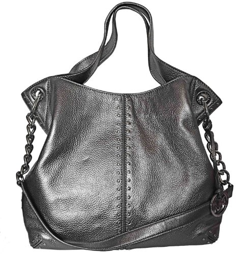Michael Kors Astor Chain Shoulder Leather Tote Handbag, Large, Gunmetal/ Grey