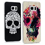 S6 Edge Plus Cases - Mavis's Diary Colorful Painted Special White Skull Pattern + Colorful Flowers Skull Pattern Clear PC Covers for Samsung Galaxy S6 Edge Plus G9280 with Clean Cloth