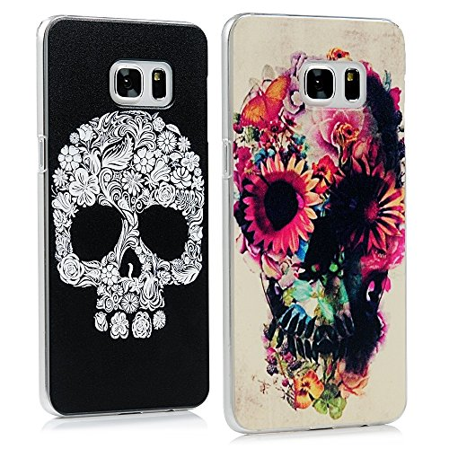 S6 Edge Plus Cases - Mavis's Diary Colorful Painted Special White Skull Pattern + Colorful Flowers Skull Pattern Clear PC Covers for Samsung Galaxy S6 Edge Plus G9280 with Clean Cloth primary