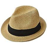 nakota(ナコタ) ミックスペーパーハット メンズ レディース <Lサイズ(頭周り約61cm)/ミックスベージュ> 麦わら帽子 折りたたみ パナマ帽 麦わらハット 春夏 帽子 中折れ ハット リボン ライン 軽い 通気性 紫外線対策 大きいサイズ