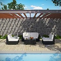 Big Sale LexMod Camfora Outdoor Wicker Patio 5 Piece Sofa Set in Espresso with White Cushions
