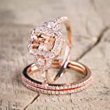 Lzz Fashion Lady 18K Rose Gold Filled Morgan Stone Ring Three-in-One Square Cut Cubic Zirconia Ring Wedding Jewelry Set Size 6-10 (US Code 8) (Color: rose gold, Tamaño: US code 8)