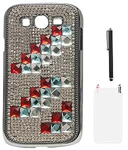 DMG Rhinestone Party Wear Back Case for Samsung Galaxy Grand Neo i9060 (V-Shape) + Matte Screen + Stylus
