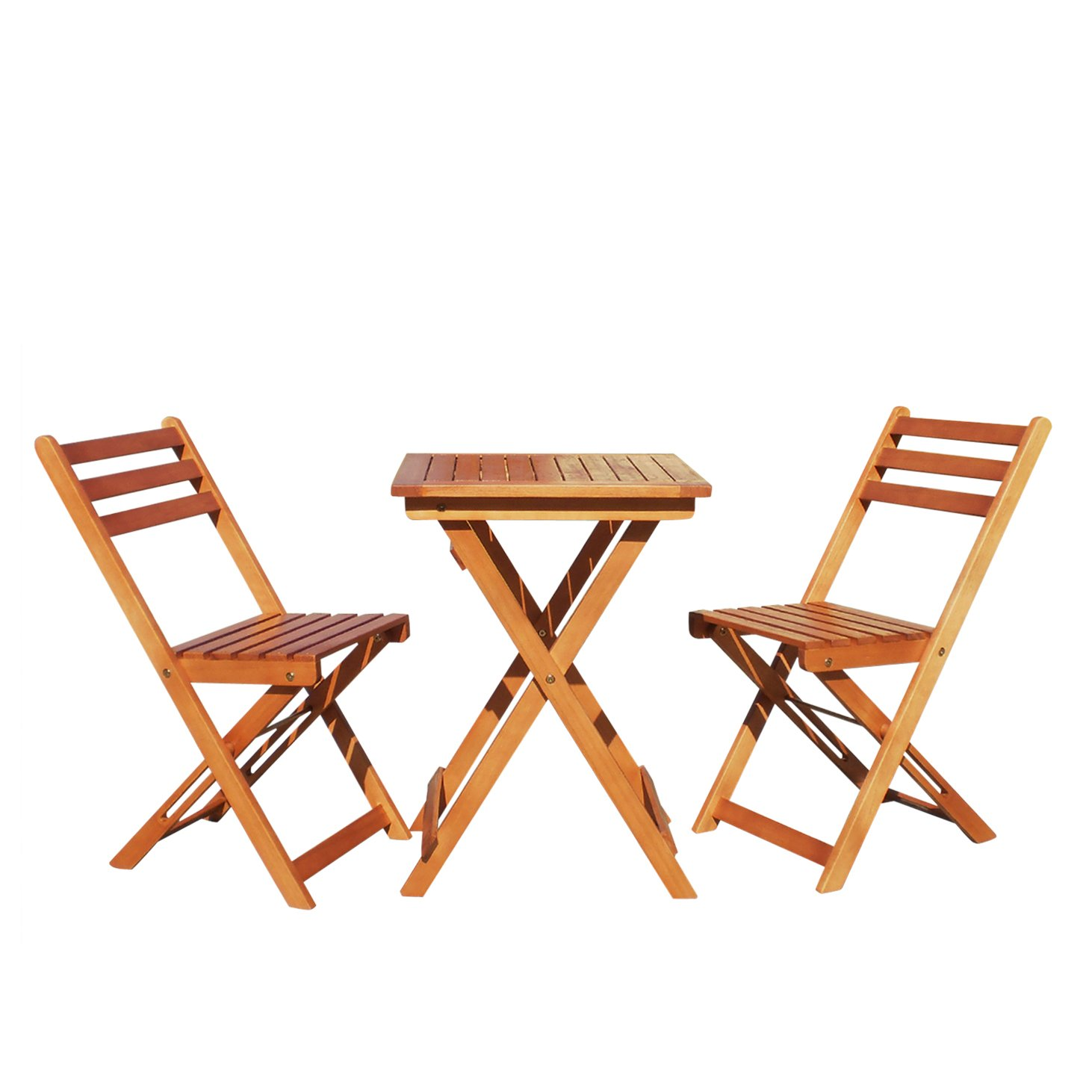 Vifah v1381 outdoor wood folding bistro set with square for Outside table and chairs