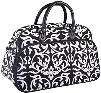 """Teens and Women's Overnight, Weekend, or Gym 21"""" Duffle Bag (Damask - Black)"""