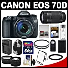 Canon EOS 70D Digital SLR Camera & 18-135mm IS & 55-250mm IS STM Lens with 64GB Card + Battery + Charger + Backpack Case + Tele/Wide Lens Kit
