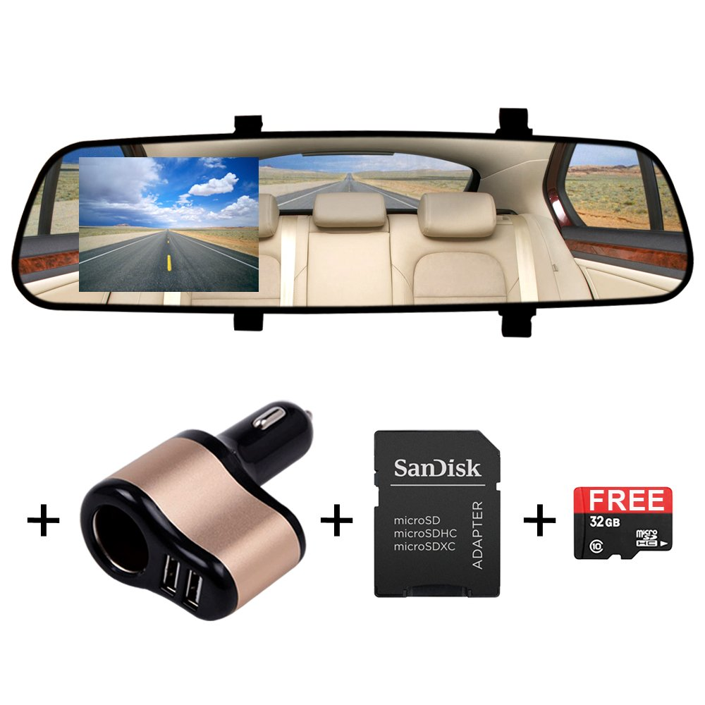 BEST Car Dash Cam Camera Bundle by SAFECAM with FREE 32GB memory Card - Full 1920 x 1080P HD Video Camcorder - Accident Auto Detection G-Sensor DASH CAM - FREE BONUS: IN-CAR CHARGER