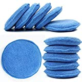 WINOMO Microfiber Wax Applicator Waxing Polish Wax Foam Sponge Applicator Pads Cars Vehicle Glass Clean 10pcs (Blue)
