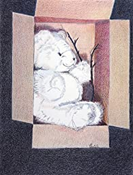Teddy in a Box, Archival Print of Colored Pencil Drawing, 10 X 13 Inches