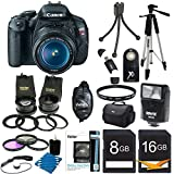 Canon EOS Rebel T3i 18 MP CMOS Digital SLR Camera and DIGIC 4 Imaging with EF-S 18-55mm f/3.5-5.6 IS Lens + 58mm 2x Professional Lens +High Definition 58mm Wide Angle Lens + Auto Flash + 59 Strong lightweight Tripod + UV Filter Kit With 24GB Complete Deluxe Accessory Bundle