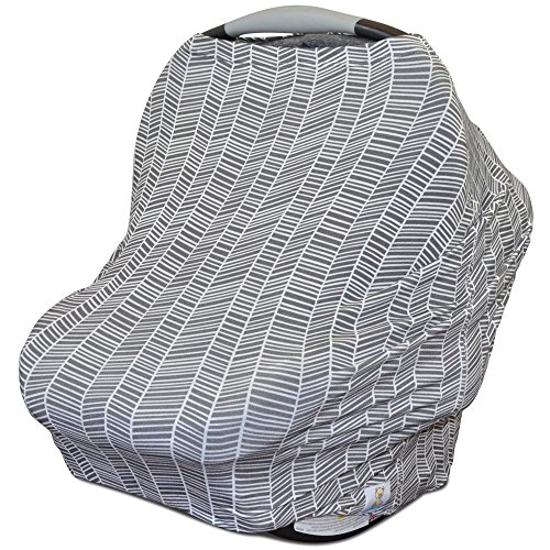 Stretchy Multi Use Carseat Canopy | Nursing Cover | Shopping Cart Cover | Infinity Scarf- Herringbone Print | Best Baby Gift for Girls & Boys| Fits Most Infant Car Seats | Great For Breastfeeding Moms