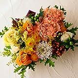 フラワー ギフト 誕生日 アレンジメント イエロー オレンジ 黄色系 誕生日お祝いに 季節のお花を使った生花 フラワーケーキアレンジメント Happy birthday ピック付