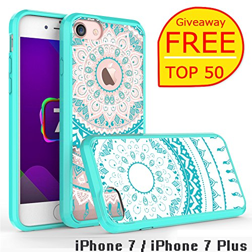 iPhone 7 Clear Case, AnoKe [Scratch Resistant] Colors Dream Catcher Mandala Flower Cute Grils Woman Ultra Slim Acrylic Hard Cover TPU Bumper Hybrid For Apple iPhone 7 TM CH Mint (Who Is The Ch compare prices)