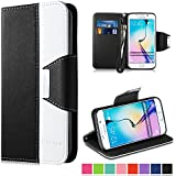 Vakoo Coque Galaxy S6 Edge [Magnétique Fermoir] Etui Housse pour Samsung Galaxy S6 Edge - Noir / Blanc