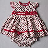 Baby Girls Beautiful Summer Clothes - 18-23 months - Gorgeous Elegant Cream and Red STRAWBERRIES Dress & Knickers Outfit Set