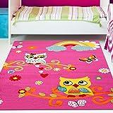 Kinder Teppich Moda Öko Tex Eule pink bunt verschiedene Größen 160×225 cm