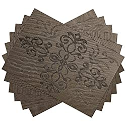 SiCoHome Placemats Gothic Style PVC Dining Room Placemats for Table Heat Insulation Stain-resistant Woven Vinyl Kitchen Placemat Vinyl Placemats,set of 6(Gothic,Brown)