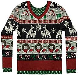 Faux Real Men\'s Ugly Frisky Deer Sweater, Multi, XX-Large