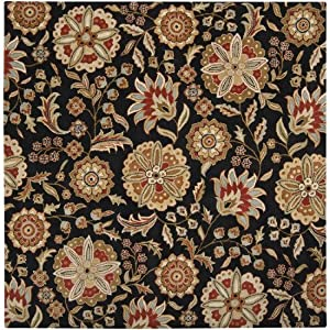 Surya Athena ATH-5017 Transitional Hand Tufted 100% Wool Black Olive 4' Square Floral Area Rug