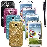 Hunye 5in1 Set: 4 x Hartplastik Glitzer Hülle Tasche Case Etui für Samsung Galaxy S4 i9500 Schutzhülle Cover Schale (schwarz, hellblau, pink, gold) und 1 x Stylus