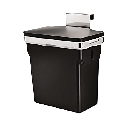 in cabinet trash can simplehuman with heavy duty steel frame to keep in place and stop sliding hooks over door side and features a lid cover
