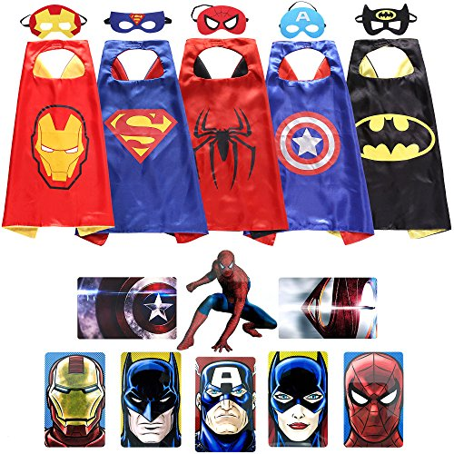Zaleny Superhero Dress Up Costumes 5 Satin Capes with Felt Masks and Stickers