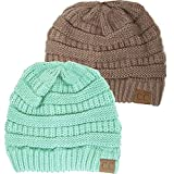 Winter White Ivory Thick Slouchy Knit Oversized Beanie Cap Hat,One Size,2 Pack: Taupe/Sage