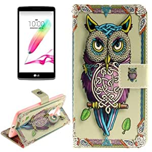 Crazy4Gadget Double Sided Printing Owl Pattern Horizontal Flip Leather Case with Holder & Card Slots & Wallet for LG G4 Stylus / LS770