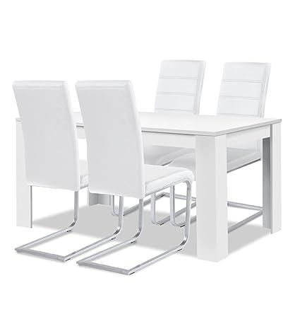 Agionda® Esstisch Stuhlset : 1 x Esstisch Toledo Weiss 120 x 80 + 4 Freischwinger JAN PIET Kunstleder weiss
