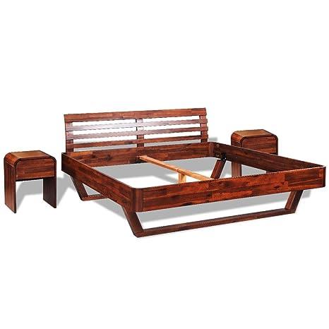 vidaXL Holz Bett mit Nachttisch Doppelbett Ehebett Massivholz Bettgestell Akazie 180 cm