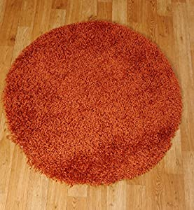 Shaggy Rug 963 Plain 5cm Floor Carpet Thick Soft Pile Modern Stylish 100% Berclon Twist Fibre Non-Shed Polyproylene Heat Set - AVAILABLE IN 7 SIZES by Quality Linen and Towels (120cm (4ft), Orange) from Quality Linen and Towels