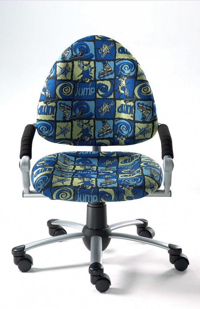 Mayer Sitzmöbel Kinder-Drehstuhl FREAKY mitwachsender Kinder- u. Jugend- Drehstuhl 4-18 Jahren Gestell perlsilber mit Armlehnen Rollen/Teppich Bezug 26271