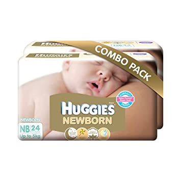 Image result for Huggies New Born Combo Pack (2 Packs, 24 Count per Pack)