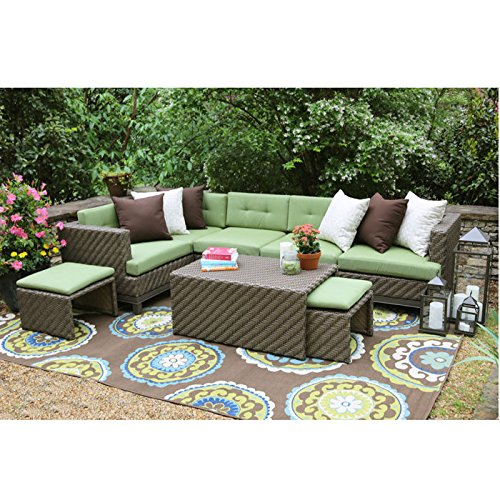 Hampton 8 Piece Outdoor Wicker Sectional Set