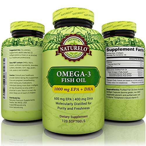 NATURELO Omega-3 Fish Oil Supplement - 1000 mg EPA & DHA per Serving - Best For Heart, Eye, Brain & Joint Health - No Burps - 120 Softgels | 2 Month Supply (Zone Labs Omega Fish Oil compare prices)