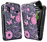 Accessory Master E28 - Funda de cuero con diseño de flores y mariposas para Samsung Galaxy Ace S5830, color rosa