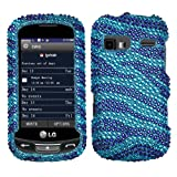 MYBAT Zebra Skin (baby Blue/Dark Blue) Diamante Protector Cover for LG C395 (Xpression), LG LN272 (Rumor Reflex)
