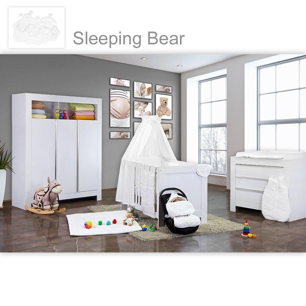 Babyzimmer Felix in weiss 19 tlg. mit 3 türigem Kl + Sleeping Bear in weiss