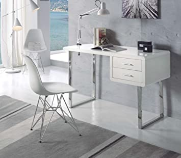 Decoración Beltrán Tables bureau – Blanc/Chrome avec cajones- entrée
