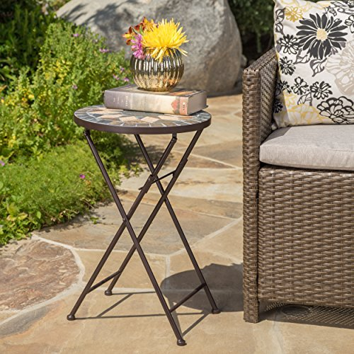 Sandor Outdoor Beige and Black Stone Side Table with Iron Frame