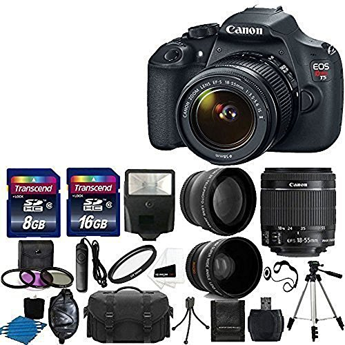 Canon-EOS-Rebel-T5-DSLR-Digital-Camera-EF-S-18-55mm-f35-56-IS-Lens-2x-telephoto-Lens-58mm-Wide-Angle-Lens-Flash-59-Inch-Tripod-UV-Filter-Kit-24GB-SDHC-card-Accessory-Bundle